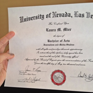 The diploma I still haven't framed.